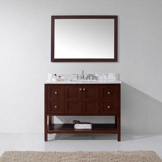 Virtu USA Winterfell 48-inch Single Bathroom Vanity Cabinet Set in Cherry