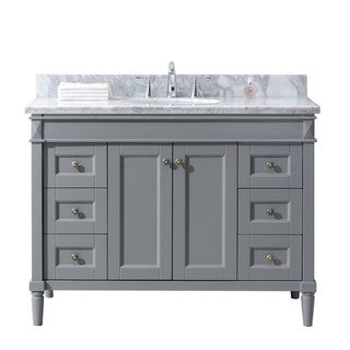 Virtu USA Tiffany 48-inch Single Bathroom Vanity Cabinet Set in Grey