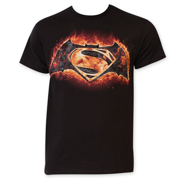 Batman vs. Superman Flames Logo T-Shirt