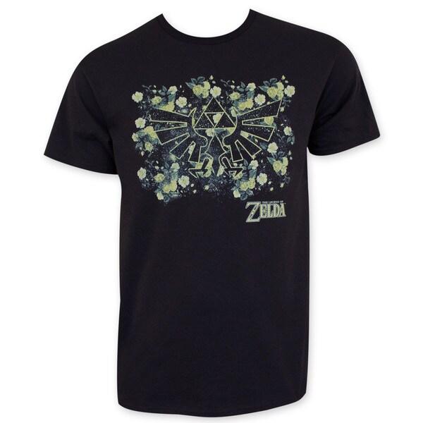 Nintendo Zelda Floral Print Black T-Shirt