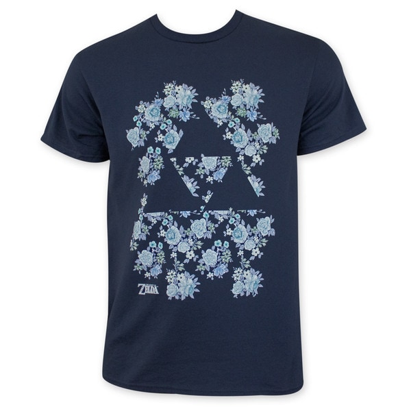 Nintendo Navy Blue Floral Triforce Zelda T-Shirt
