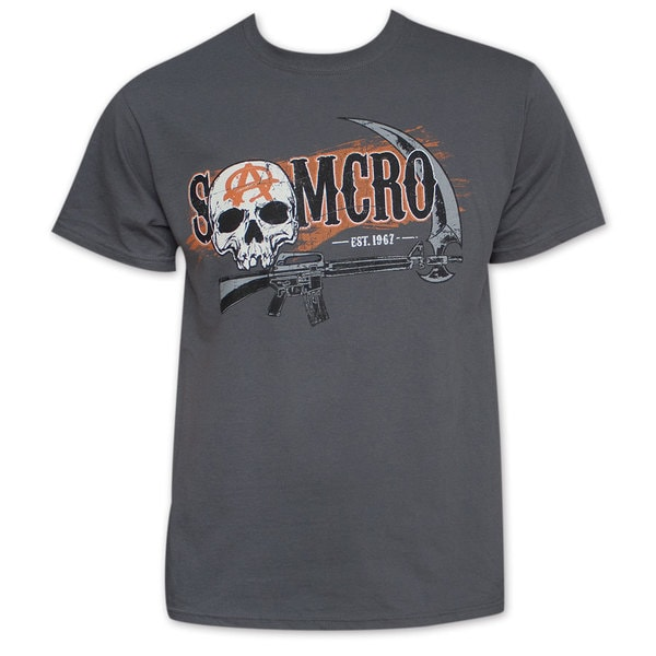 Sons Of Anarchy Men's Grey Two Sided Gun And Sickle T-Shirt