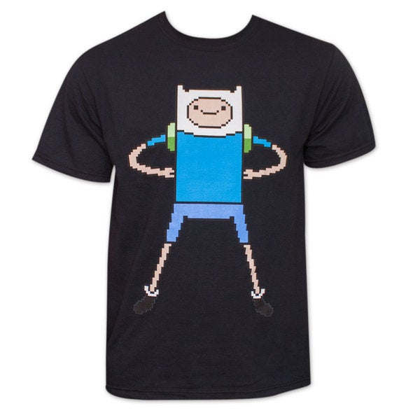Adventure Time Finn 8-Bit Black T-Shirt