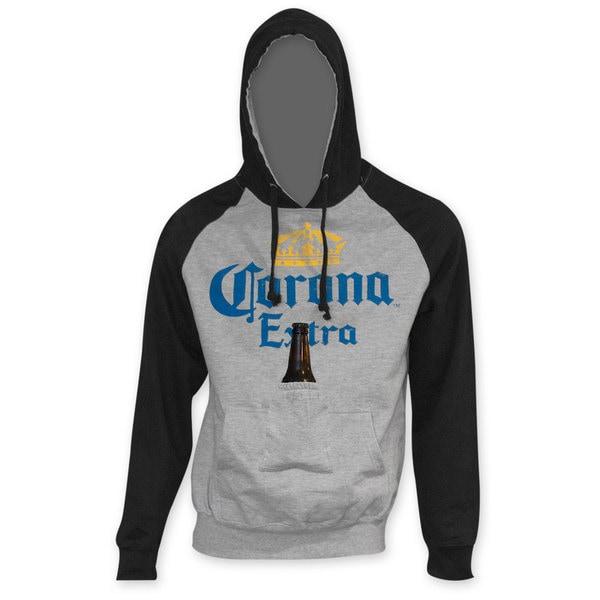 Corona Extra Men's Black Sleeve Beer Pouch Hoodie 17483863