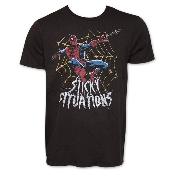 Spider-Man Sticky Situations Junk Food Vintage Marvel Black T-Shirt 17484064