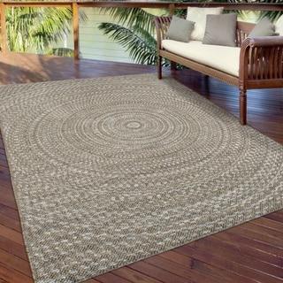 """Indoor/Outdoor Circles Azure Swirl Gray Area Rug (7'7"""" x 10'10"""")"""