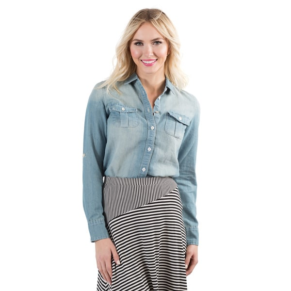 DownEast Basics Women's Denim Button Up Shirt