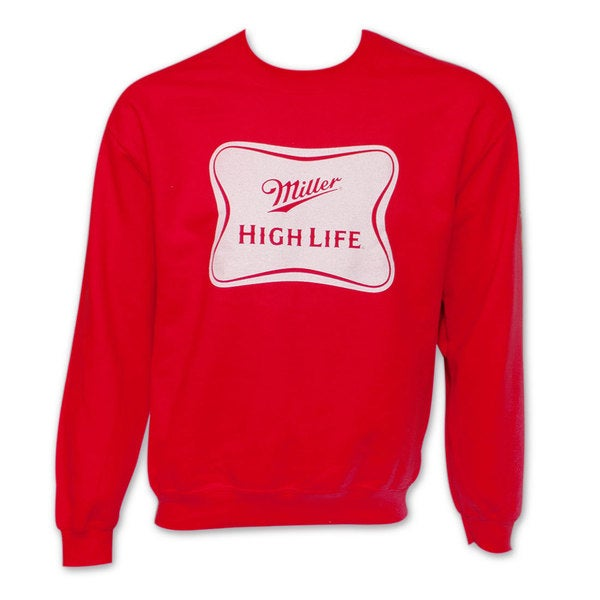 Miller High Life Logo Crew Neck Men's Red Sweatshirt