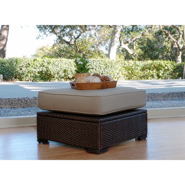 Serta Outdoor Collection Ottoman with Cushion, Beige/Dark Brown