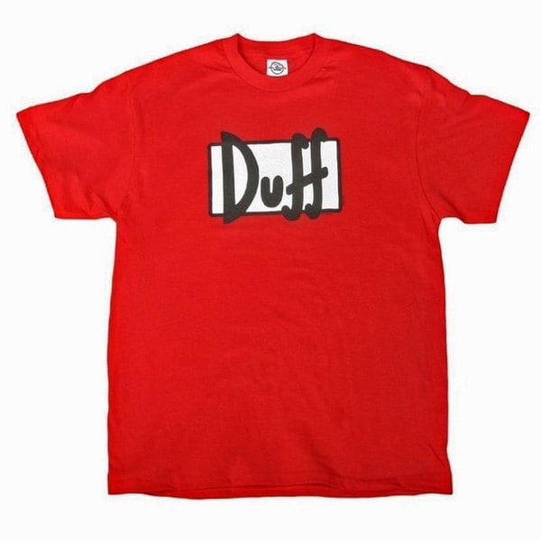 Simpsons Duff Logo Red Graphic T-Shirt