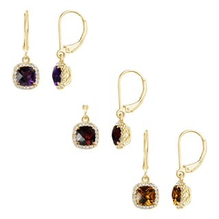 Sterling Silver 14k Yellow Goldplated Cushion Gemstone Leverback Dangle Earrings