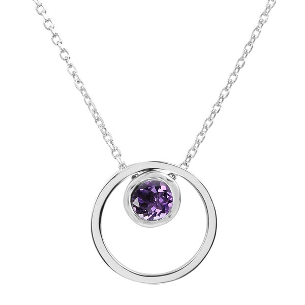 Sterling Silver Round Amethyst Double Circle Pendant Necklace