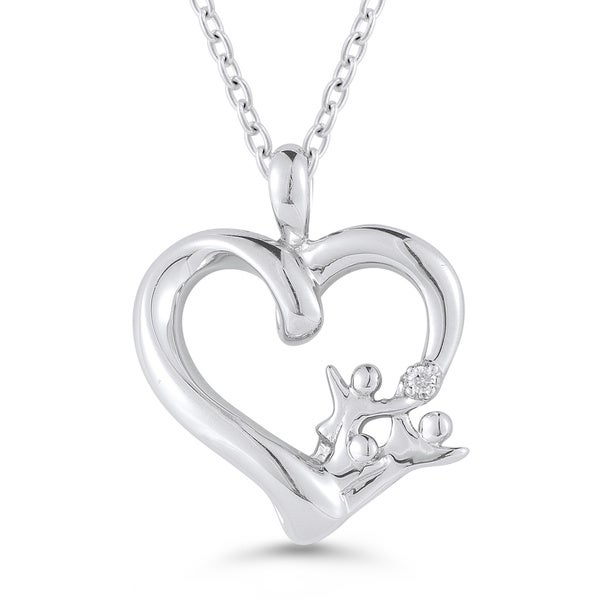 Sterling Silver Diamond Accent Family Is Forever Symbolic Heart Pendant