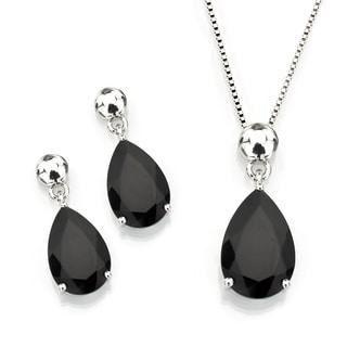 Sterling Silver Pear Shape Black Onyx Pendant and Earrings Set