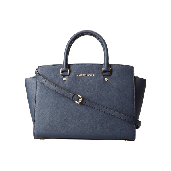 Michael Michael Kors 'Selma' Navy Saffiano Leather Top-zip Handbag