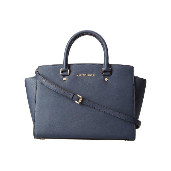 Michael Michael Kors 'Selma' Navy Saffiano Leather Top-zip Handbag