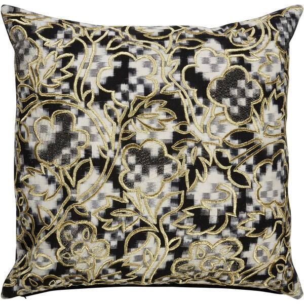 Tribal Pattern Black/White Cotton Poly Fill Pillow - 22 inch