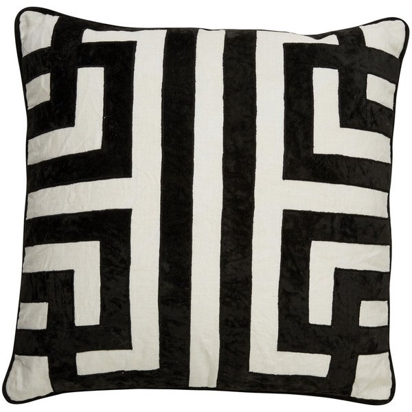 Tribal Pattern Ivory/Black Linen Poly Fill Pillow - 22 inch