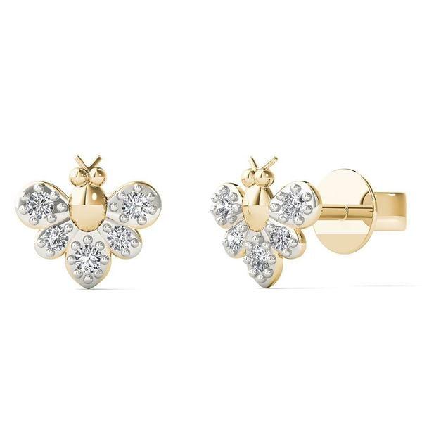 10k Yellow Gold Diamond Accent Bumble Bee Stud Earrings (H-I, I1-I2)