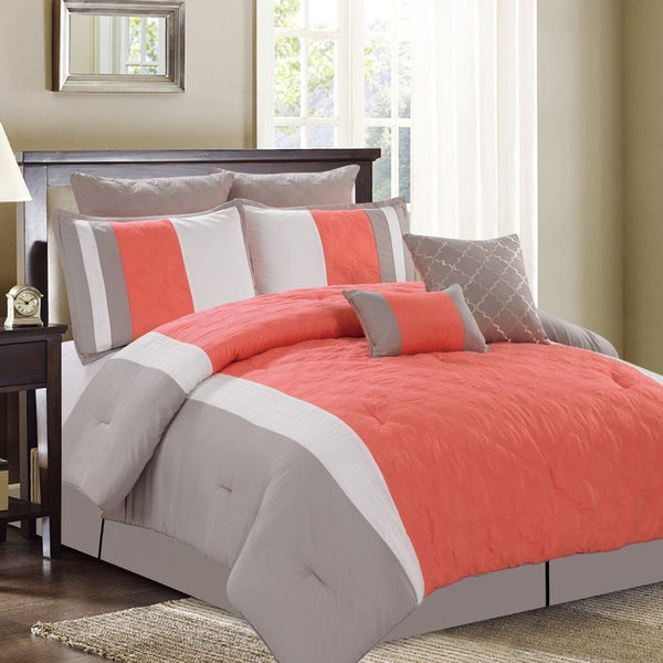 New Hope 8-Piece Queen-size Coral Comforter Set