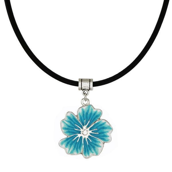 Jewelry by Dawn Blue Flower Rhinestone Leather Cord Necklace