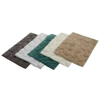 Saffron Fabs White Cotton Pebbles Stone 2-piece Bath Rug Set