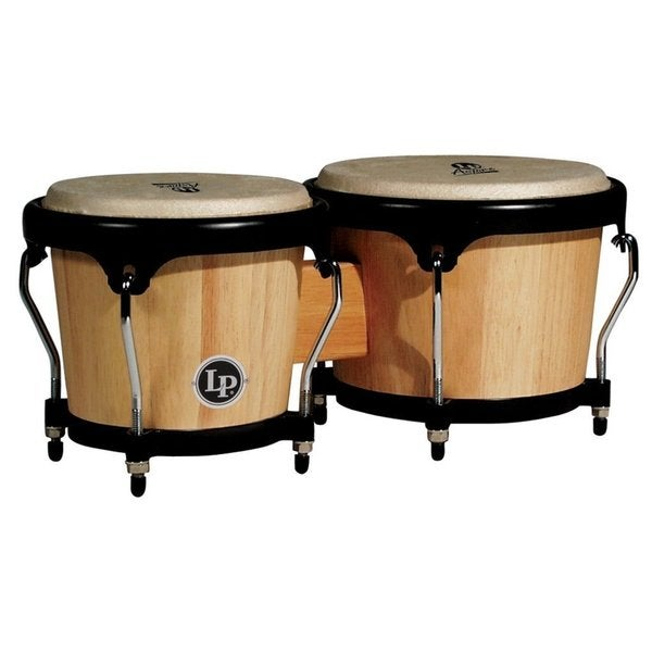 LP Latin Percussion LPA601AW Aspire 8-inch and 6.75-inch Natural Finish Wood Bongos with Black Hardware
