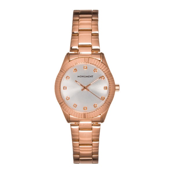 Monument Women's MMT4637 Kensington Fluted Bezel Quartz Watch