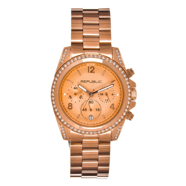 Republic Women's Rosetone Stainless Steel RP210X Glitz Chronograph Watch