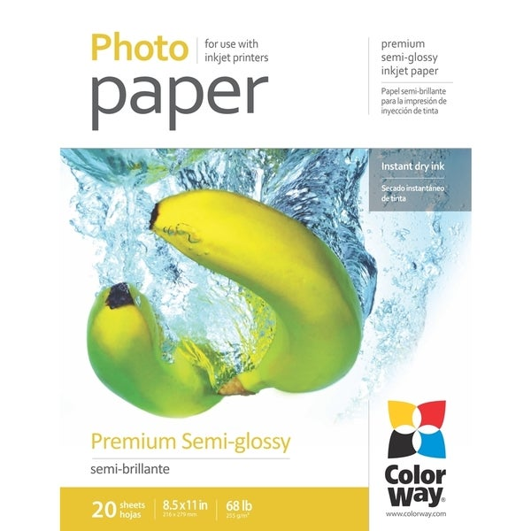 Premium Semi-glossy ColorWay Photo Paper 8.5-inch x 11-inch 20 sheets