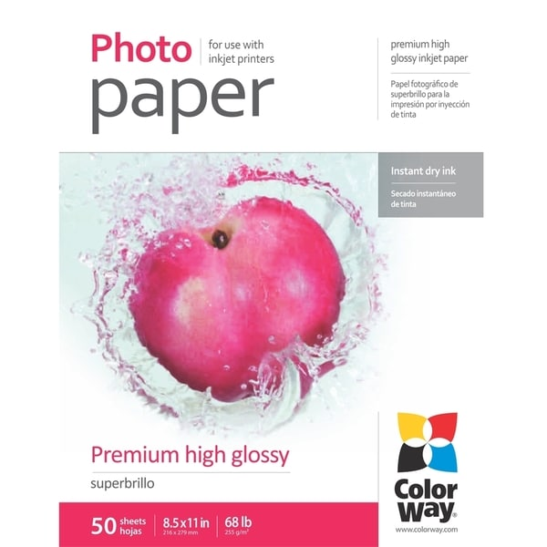 Premium High Glossy ColorWay Photo Paper 8.5-inch x 11-inch 50 sheets
