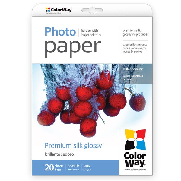 Premium Silk Glossy ColorWay Photo Paper 8.5-inch x 11-inch 20 sheets