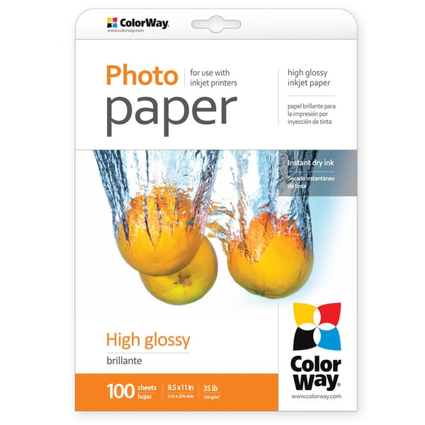 High Glossy ColorWay Photo Paper 8.5-inch x 11-inch 100 sheets 35lb 130gsm