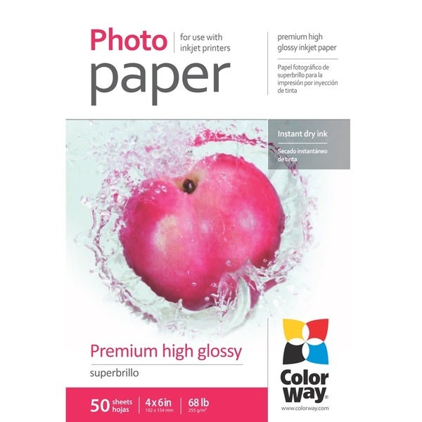 Premium High Glossy ColorWay Photo Paper 4-inch x 6-inch 50 sheets