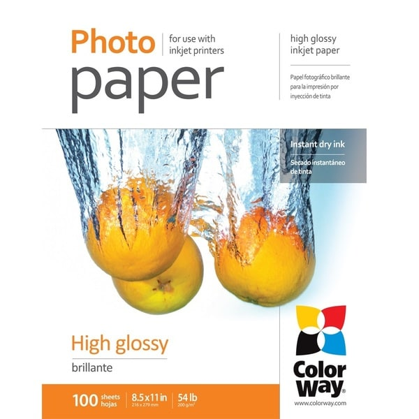 High Glossy ColorWay Photo Paper 8.5-inch x 11-inch 100 sheets 54lb 200gsm