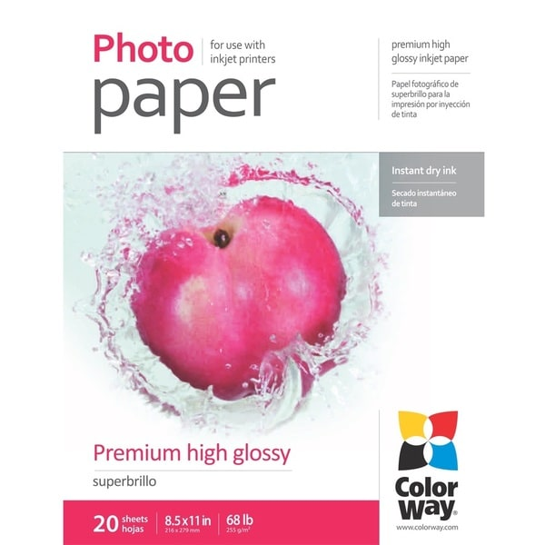 Premium High Glossy ColorWay Photo Paper 8.5-inch x 11-inch 20 sheets