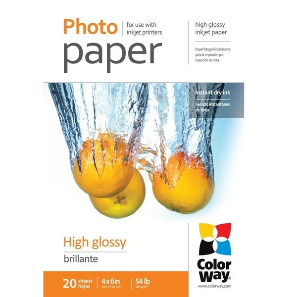 High Glossy ColorWay Photo Paper 4-inch x 6-inch 20 sheets 54lb 200gsm