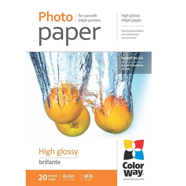 High Glossy ColorWay Photo Paper 4-inch x 6-inch 20 sheets 48lb 180gsm