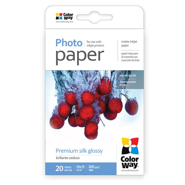Premium Silk Glossy ColorWay Photo Paper 4-inch x 6-inch 20 sheets