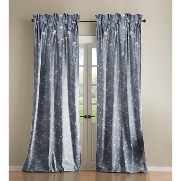Blue Floral Curtain Panel
