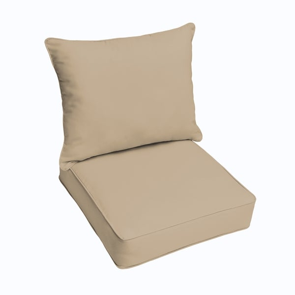 sloane beige indoor outdoor corded chair cushion and pillow set