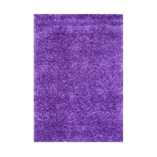 Alliyah Handmade Purple Art-Silk Shaggy Rug (4' x 6')