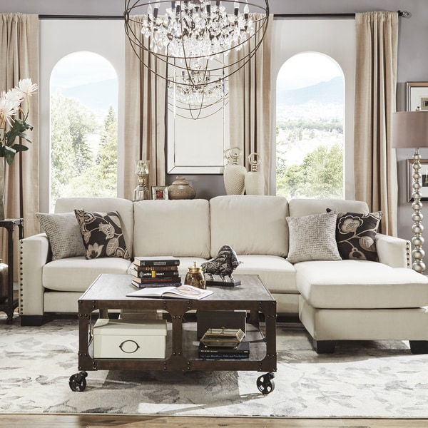 Inspire q torrington linen nailhead track arm l shaped for B q living room furniture