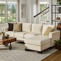 INSPIRE Q Torrington Linen Nailhead Track Arm L-Shaped Configurable Chaise Sectional