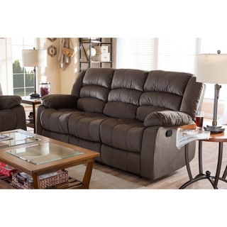 Baxton Studio Panos Modern and Contemporary Taupe Microsuede 3-Seater Recliner