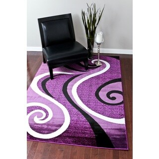 Persian Rugs Modern Trendz Collection Purple Rug (5'2 x 7'2)