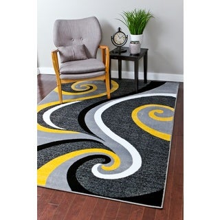 Persian Rugs Modern Trendz Collection Yellow Rug (5'2 x 7'2)