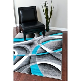 Persian Rugs Modern Trendz Collection Turquoise/ Grey Rug (5'2 x 7'2)