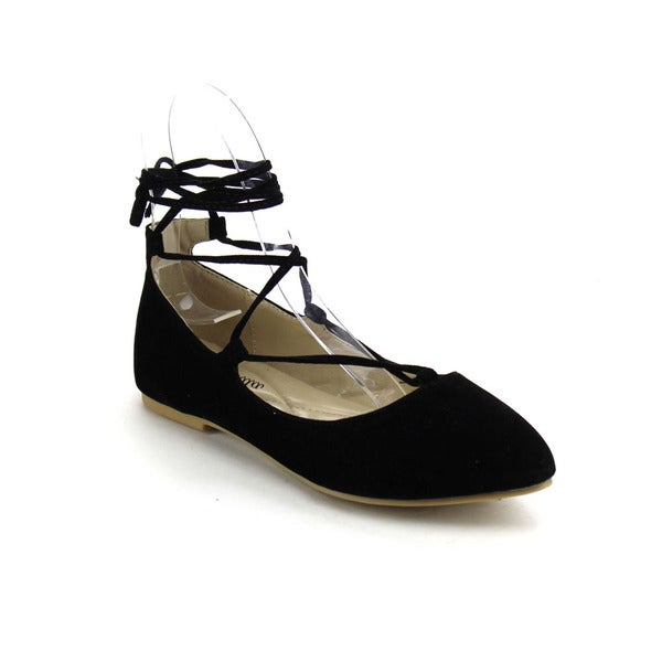 ATREVIDA ZOnIA-17 Women's Lace Up Ballet Flats
