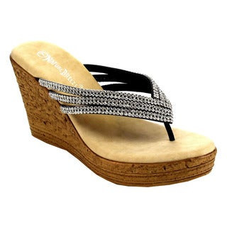 Beston EB00 Women's Platform Rhinestone Comfy Thong Wedge Sandal
